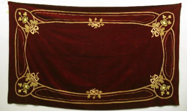 1006: EMBROIDERED VELVET TABLE COVER. Deep red with flo