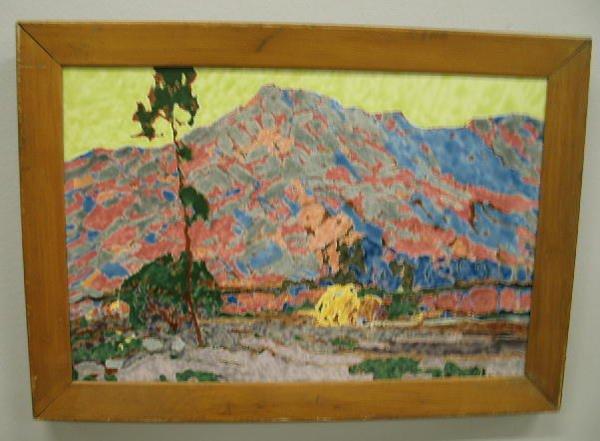 1007: FRAMED ART POTTERY TILE. Mountain landscape with