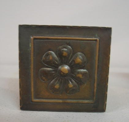 1009: PAIR SMALL ARTS & CRAFTS COPPER BOOKENDS. Embosse - 2