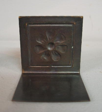 1009: PAIR SMALL ARTS & CRAFTS COPPER BOOKENDS. Embosse - 5