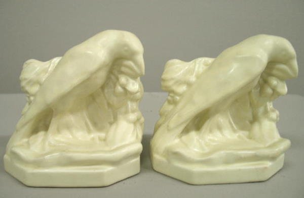 1014: TWO ROOKWOOD  BOOKENDS. Small rooks dated 1939 wi
