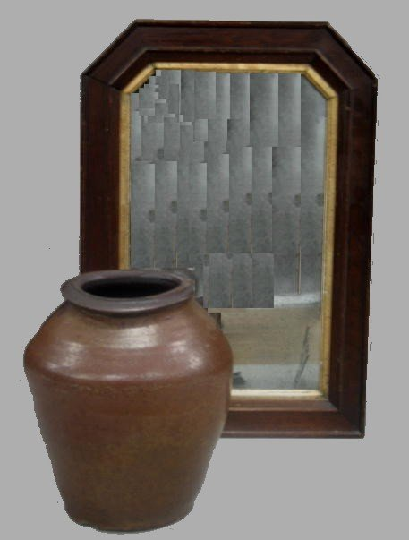 1022: TWO PIECES. Tombstone frame walnut mirror with gi