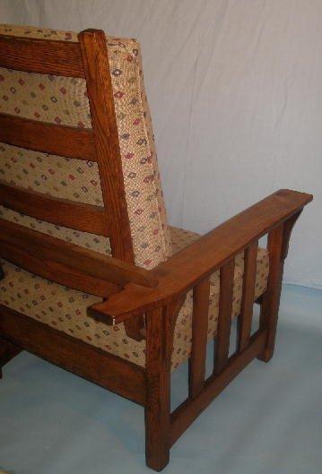 1023: MORRIS CHAIR AND FOOTSTOOL. Refinished oak. Slat  - 6