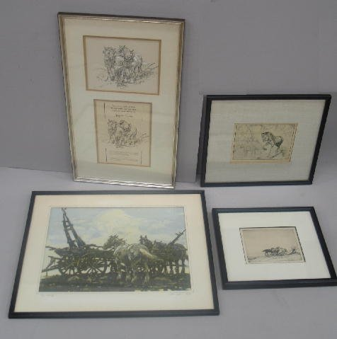 "1024: FOUR PIECES BY ""LESLIE COPE"". Two signed etchings"