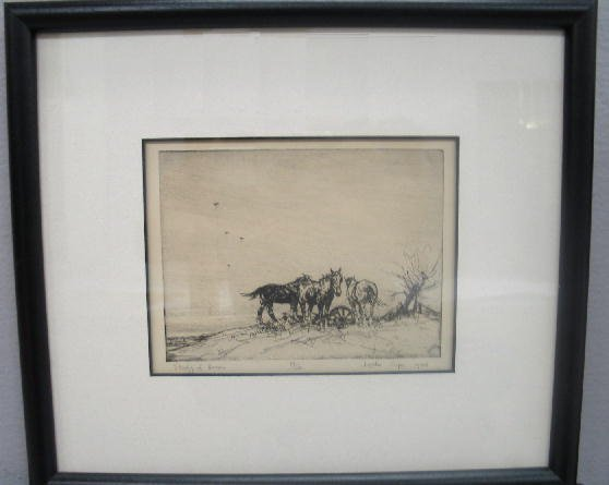 "1024: FOUR PIECES BY ""LESLIE COPE"". Two signed etchings - 3"