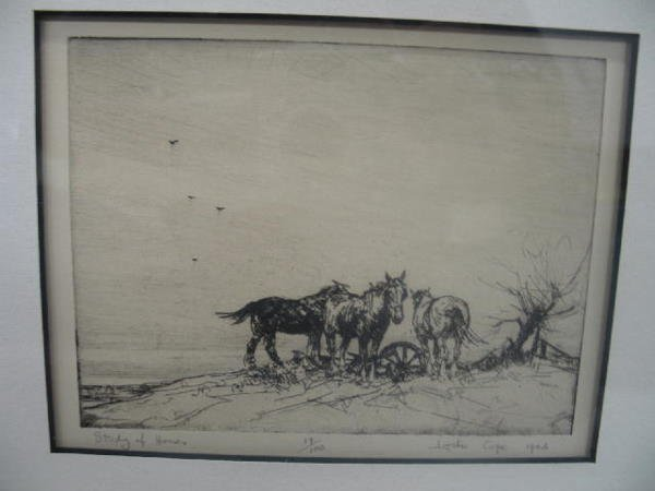 "1024: FOUR PIECES BY ""LESLIE COPE"". Two signed etchings - 4"