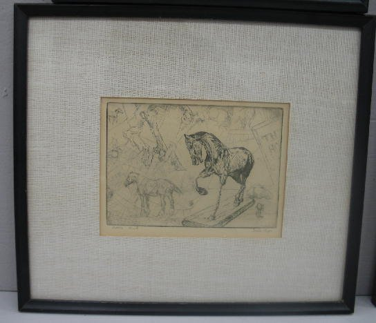 "1024: FOUR PIECES BY ""LESLIE COPE"". Two signed etchings - 5"