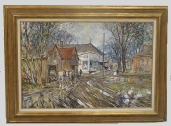 """1088: LARGE """"COPE"""" OIL ON CANVAS. Village scene after a"""