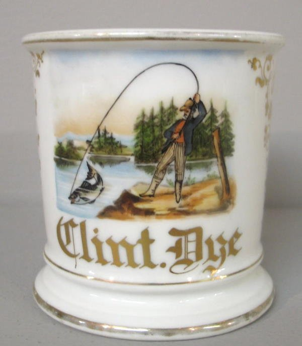 1113: OCCUPATIONAL SHAVING MUG. Hand painted trout fish