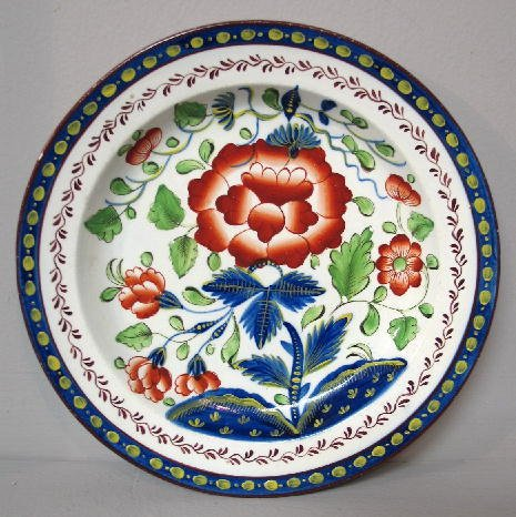 2: GAUDY DUTCH PLATE. Carnation in strong colors with a