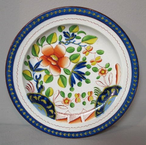 4: GAUDY DUTCH PLATE. Single Rose in bright colors. Imp