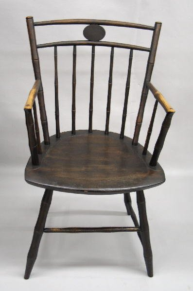 8: WINDSOR ARMCHAIR WITH BAMBOO TURNINGS. Mixed woods w