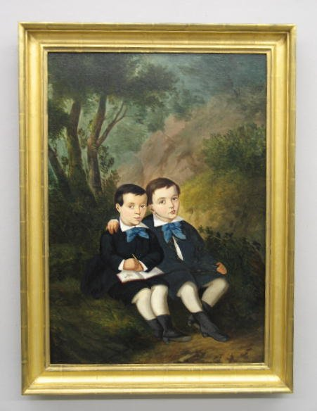 12: OIL PAINTING ON CANVAS. Pair of brothers seated und