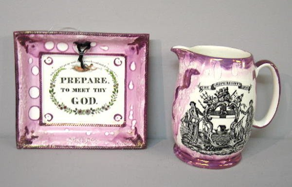13: TWO PIECES OF SUNDERLAND LUSTER. Pitcher and plaque