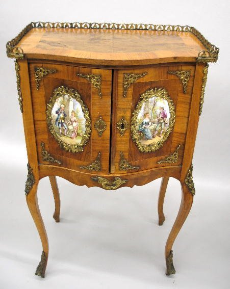 17: LOUIS XV STYLE BOWFRONT TWO-DOOR STAND. Fruitwood a
