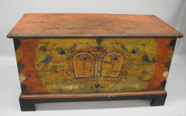 22: DECORATED BLANKET CHEST WITH TILL. Pine with newer