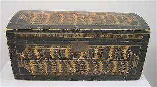 25 GRAIN DECORATED DOME TOP BOX Pine with original pa