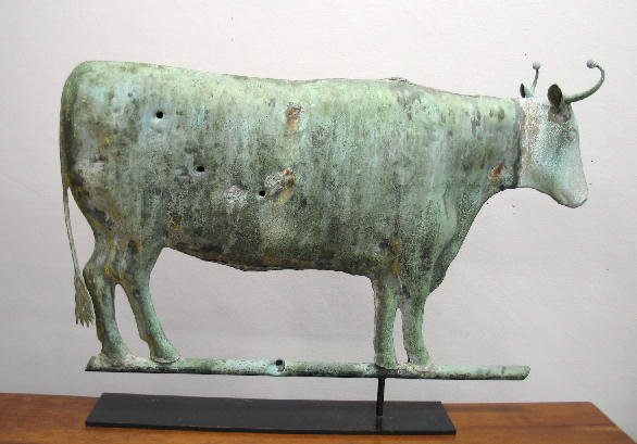 172: WEATHERVANE. Full-bodied copper ox with zinc head.