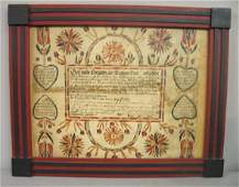"""FRAKTUR BY """"BRECHALL"""". Hand painted birth certific"""
