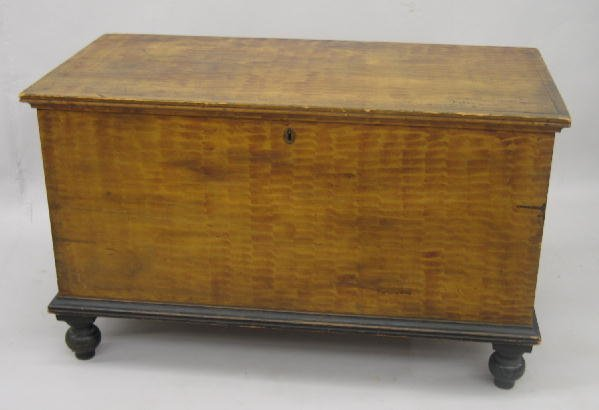 428: DECORATED BLANKET CHEST. Pine with poplar secondar