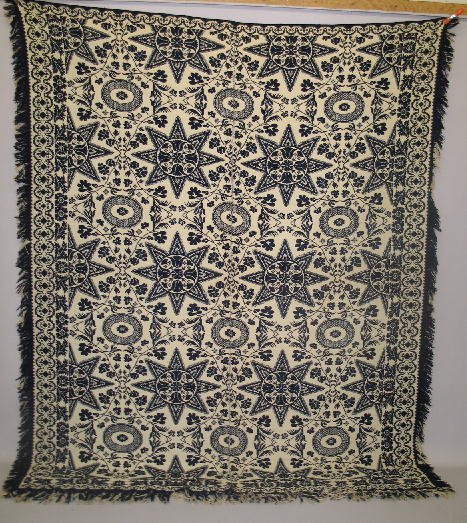 440: JACQUARD COVERLET. Two-piece Summer/Winter in navy