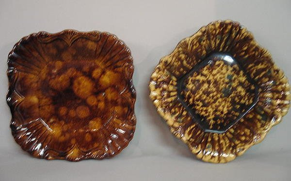 444: TWO MOLDED POTTERY TRAYS. Similar fan and shell de