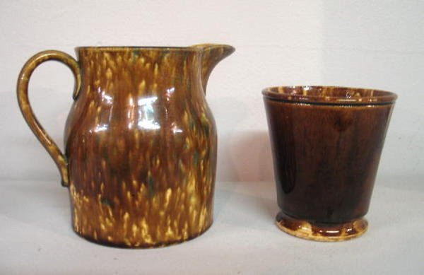 448: TWO PIECES: Small flint enamel pitcher with applie