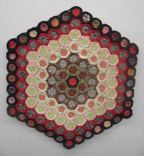 """449: PENNY RUG. Hexagonal with each """"penny"""" made from w"""