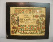 699 FRAKTUR Printed house blessing on laid paper with