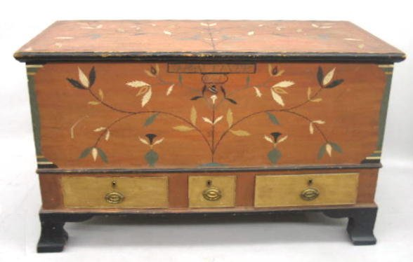 851: DECORATED BLANKET CHEST. Pine and poplar single bo