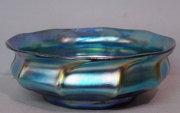 1: LOVELY LARGE BLUE TIFFANY FAVRILE BOWL. Ri