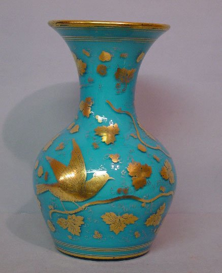 3: CASED GLASS VASE. Translucent blue over wh