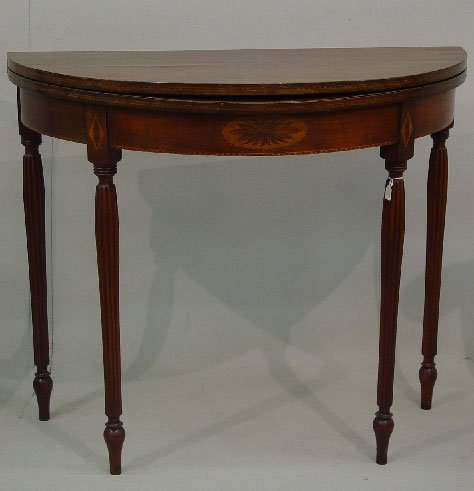 7: SHERATON STYLE CARD TABLE WITH INLAY. Refi