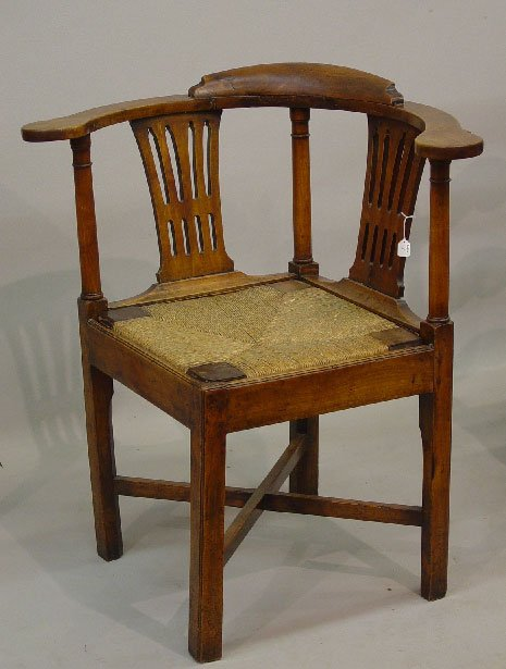 8: ENGLISH CHIPPENDALE CORNER CHAIR. Fruitwoo