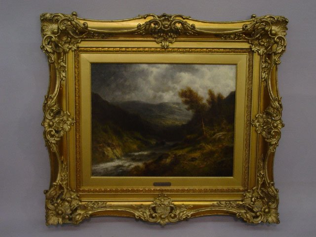 12: FRAMED OIL ON CANVAS PAINTING. River scen