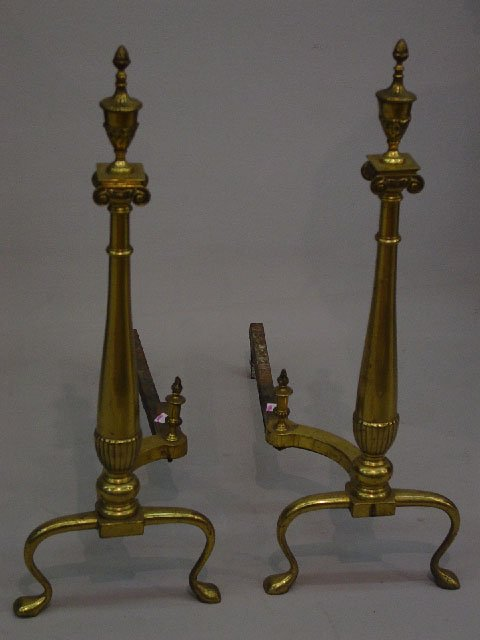 14: PAIR OF DRAMATIC BRASS ANDIRONS. Cabriole