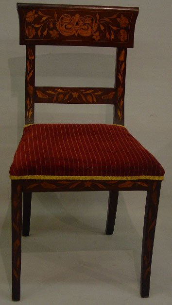 15: EUROPEAN SIDE CHAIR WITH MARQUETRY INLAY.