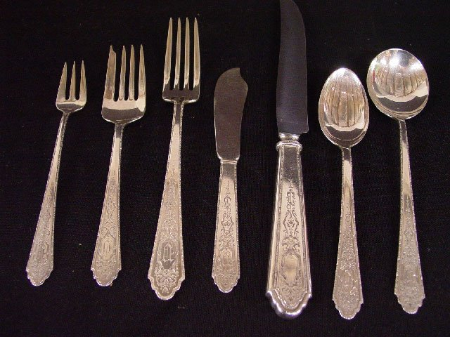 "19: SET OF LUNT ""STERLING"" FLATWARE. Sixty-ei"