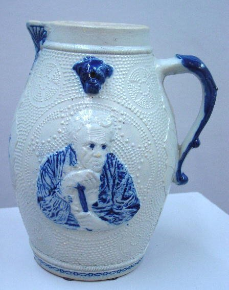 3: LARGE BLUE AND WHITE STONEWARE PITCHER. A