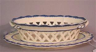 BLUE FEATHER EDGE RETICULATED DISH AND UND