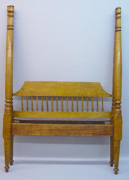 10: CURLY MAPLE TESTER BED. Old golden refini