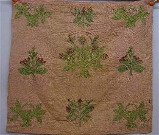 """UNUSUAL CHILD""""S APPLIQUE QUILT. Green and"""