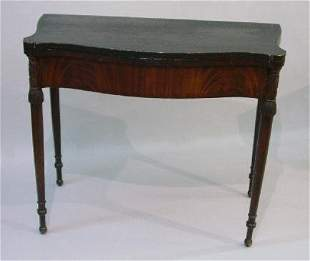 CARVED AND DECORATED SHERATON CARD TABLE.