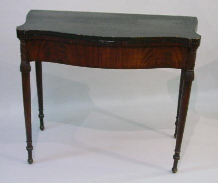 14: CARVED AND DECORATED SHERATON CARD TABLE.
