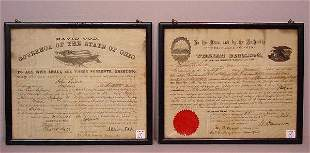 TWO FRAMED OHIO DOCUMENTS. Both are for J
