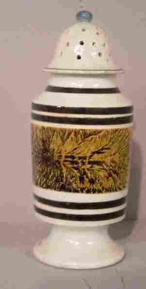 MOCHA PEPPER POT. Dark brown stripes and