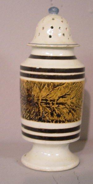 21: MOCHA PEPPER POT. Dark brown stripes and
