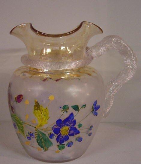 496: POMONA DECORATED PITCHER. Pale amber fla