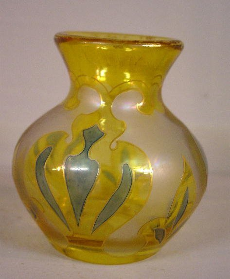 """499: SMALL """"HONESDALE"""" VASE. Flashed yellow g"""