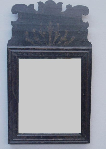 829: DECORATED QUEEN ANNE MIRROR. Molded fram